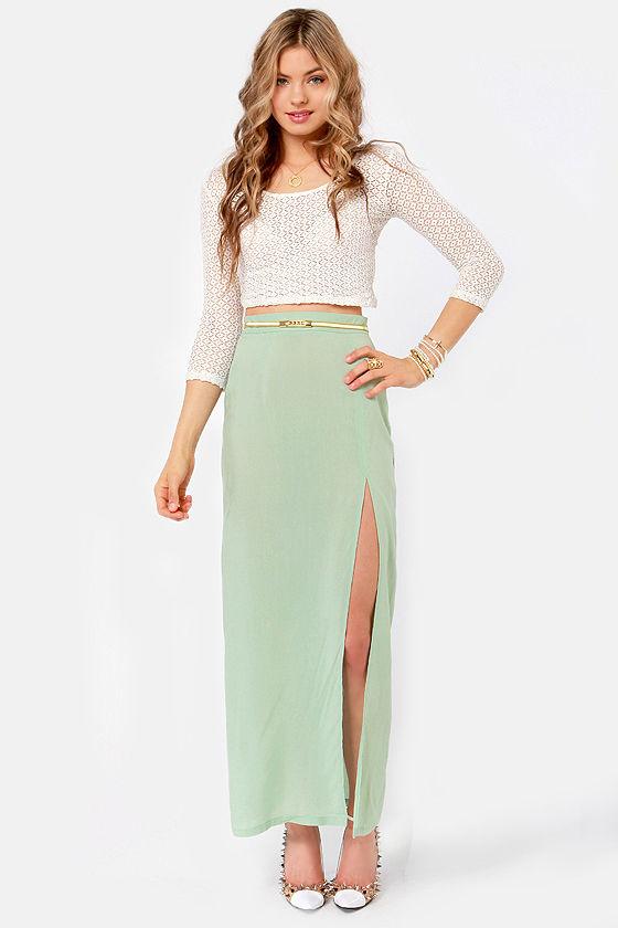 Sexy Sage Green Skirt - Maxi Skirt - Slit Skirt - $33.00