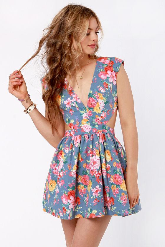 2fd2311f6f93 Cute Blue Floral Print Dress - Cutout Dress - Eighties Dress