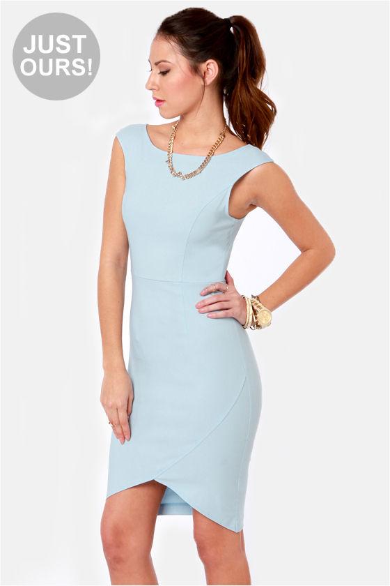 Chic Midi Dress - Light Blue Dress - Body-Con Dress - Cap Sleeve ...