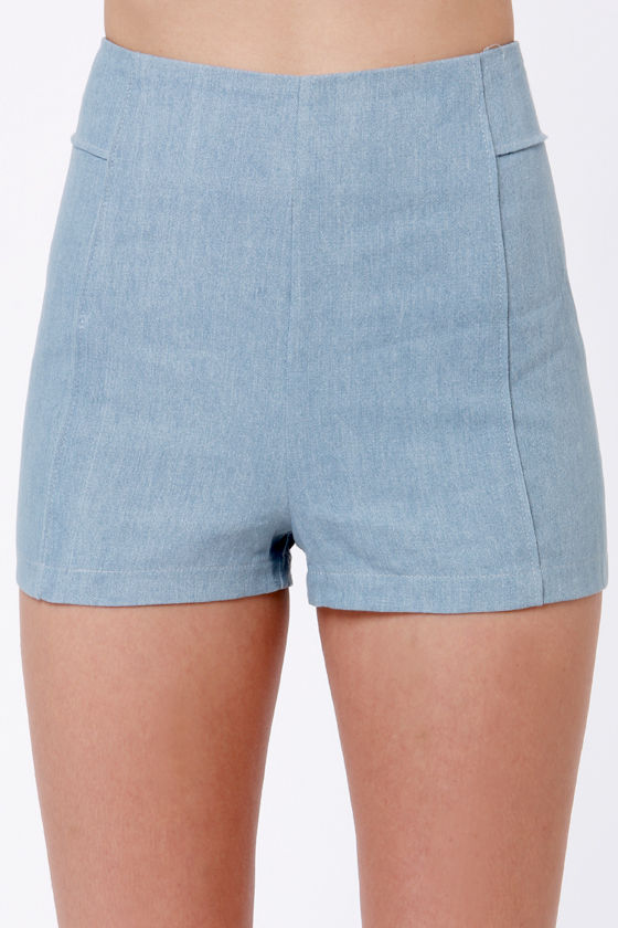 Chambray 'N Brunch High-Waisted Blue Shorts at Lulus.com!
