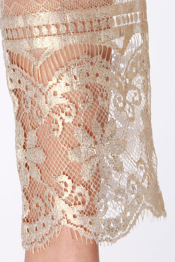 Gold-ness Gracious! Gold Lace Dress at Lulus.com!