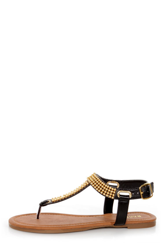 f5b1f933ac90f Bamboo Promise 03 Black and Gold Beaded Thong Sandals -  19.00