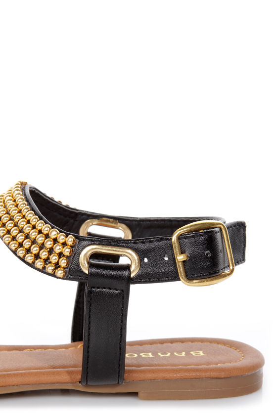 Bamboo Promise 03 Black and Gold Beaded Thong Sandals at Lulus.com!