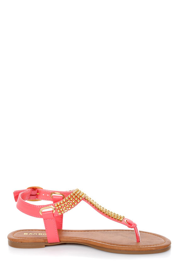 Bamboo Promise 03 Coral and Gold Beaded Thong Sandals at Lulus.com!