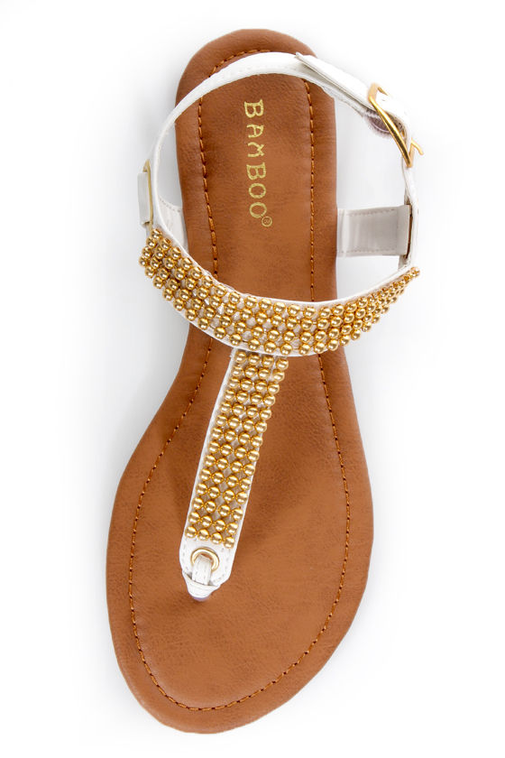 Bamboo Promise 03 White and Gold Beaded Thong Sandals at Lulus.com!
