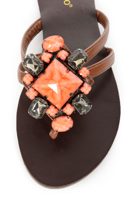 Bamboo Jourden 01 Chestnut and Coral Gemstone Thong Sandals at Lulus.com!