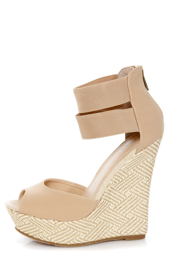 bd1fb204e0e6 Bamboo Pompey 37 Natural Ankle Cuff Woven Platform Wedge Sandals -  36.00