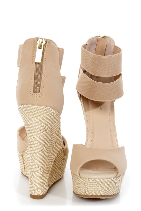 9f97d3d1a73f Bamboo Pompey 37 Natural Ankle Cuff Woven Platform Wedge Sandals ...