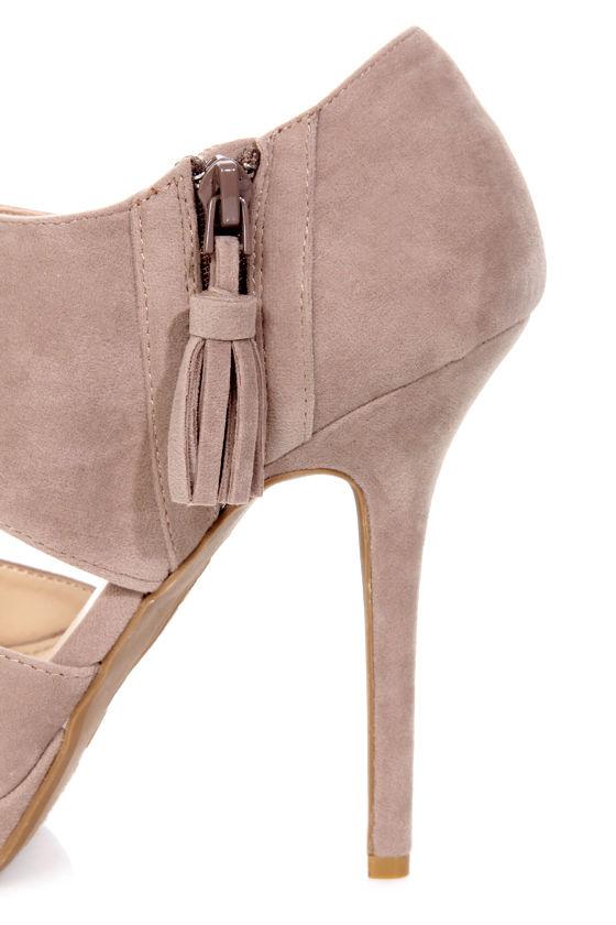 Anne Michelle Zaya 04 Taupe Cutout Peep Toe Platform Heels at Lulus.com!