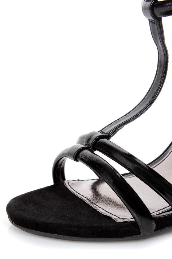 Anne Michelle Enzo 16 Black Patent T-Strap Heels at Lulus.com!