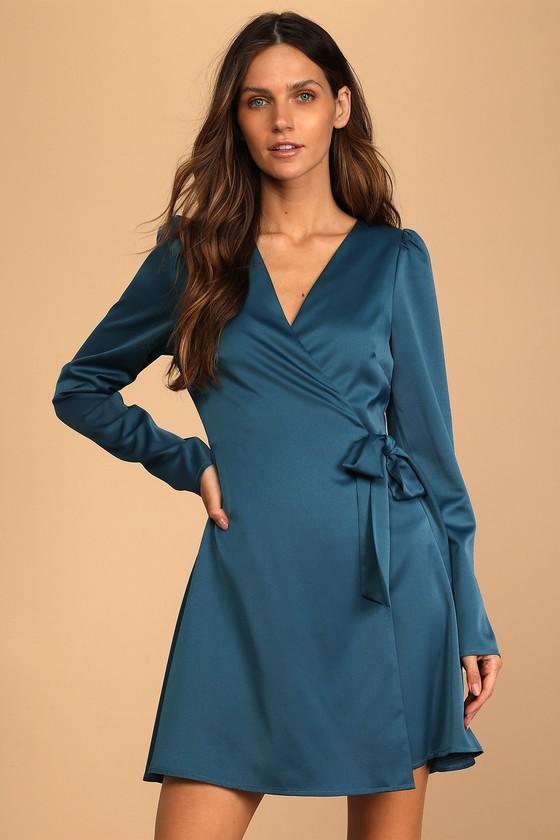 Festive Forever Teal Blue Satin Long Sleeve Wrap Mini Dress