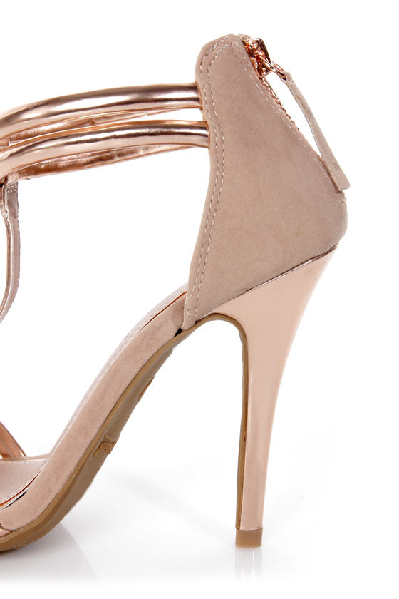 Anne Michelle Enzo 16 Rose Gold Metallic T-Strap Heels at Lulus.com!
