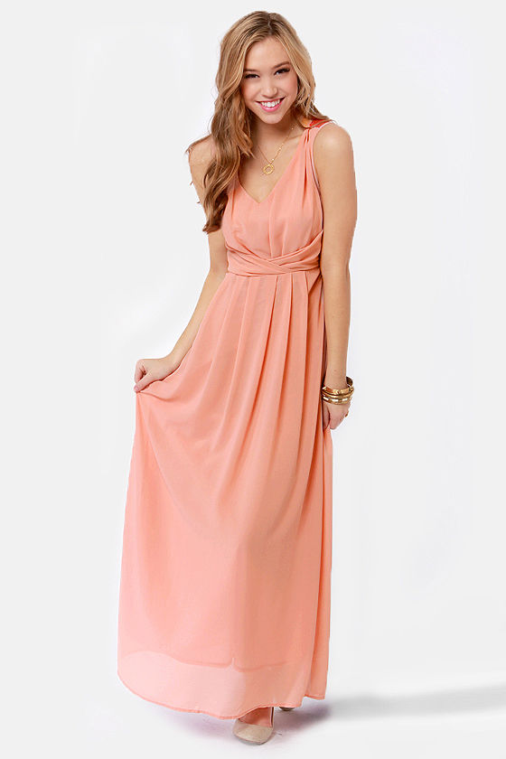 Down to the Laced Detail Dusty Peach Maxi Dress at Lulus.com!