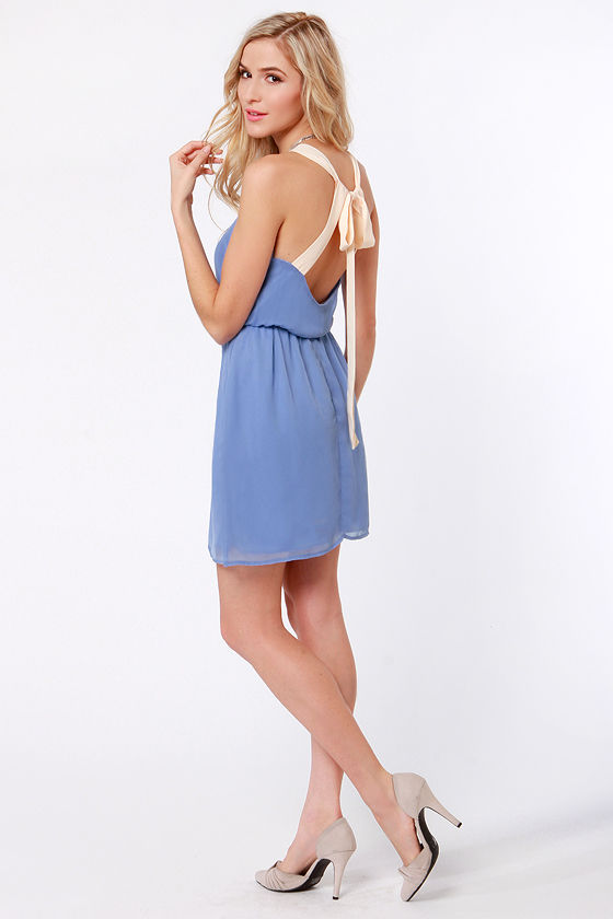 Cute Periwinkle Blue Dress - Backless Dress - $43.00