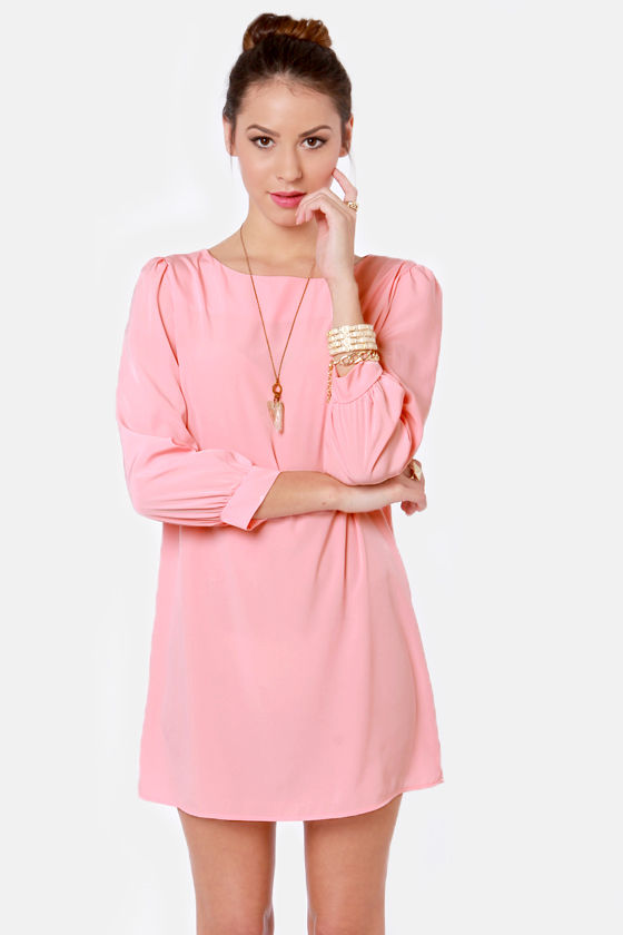 Sorbet-by Doll Peach Shift Dress at Lulus.com!