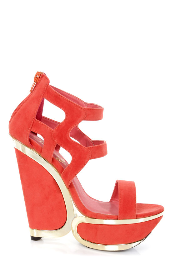 Privileged Zali Orange Strappy Sculptural Platform Wedges at Lulus.com!