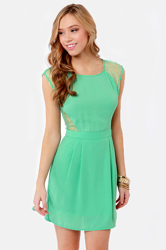 Pretty Seafoam Green Dress - Lace Dress - Cutout Dress - $43.00