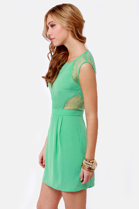 My Good Sides Seafoam Green Lace Dress at Lulus.com!