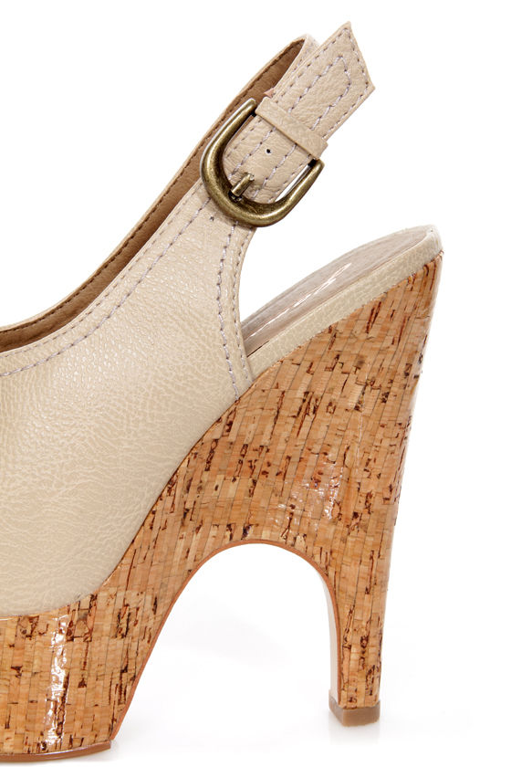GoMax Tiny Dancer 07 Tan Slingback Peep Toe Clog Platform Heels at Lulus.com!
