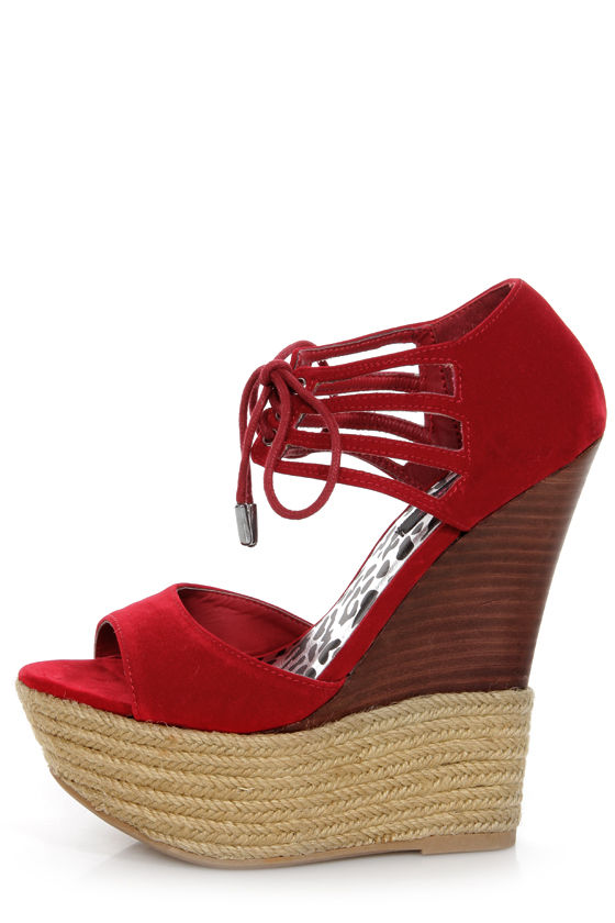 fd8278744a8 Dollhouse Hotstuff Red Lace-Up Ankle Cuff Platform Wedges -  49.00