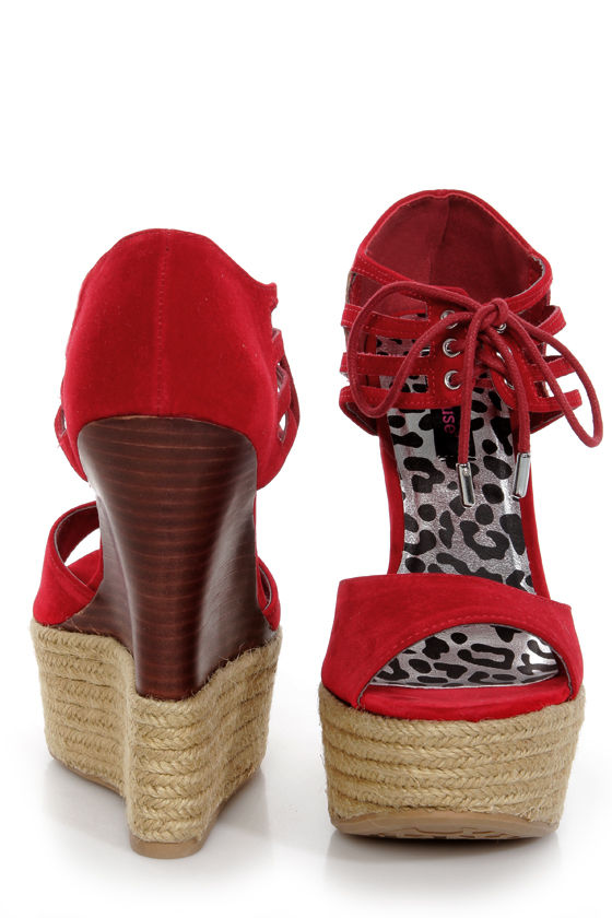 021eb6d2851 Dollhouse Hotstuff Red Lace-Up Ankle Cuff Platform Wedges