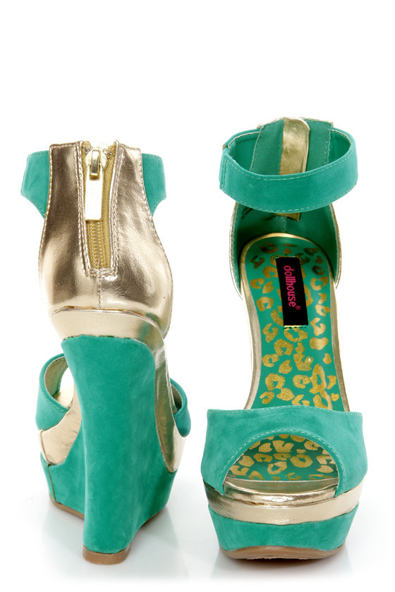 Dollhouse Lively Sea Green and Gold Platform Wedges at Lulus.com!