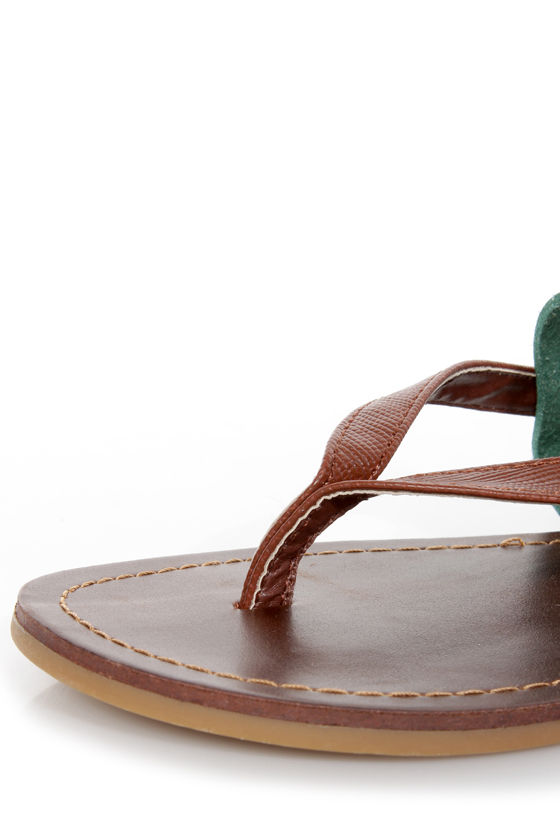 Dollhouse Resort Mint and Brown Thong Sandals at Lulus.com!