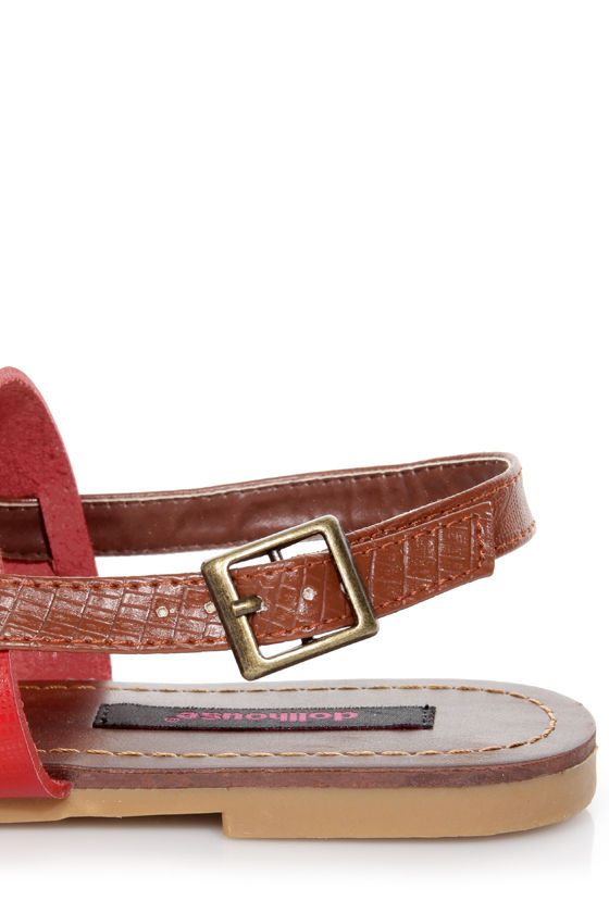 Dollhouse Resort Red and Brown Thong Sandals at Lulus.com!