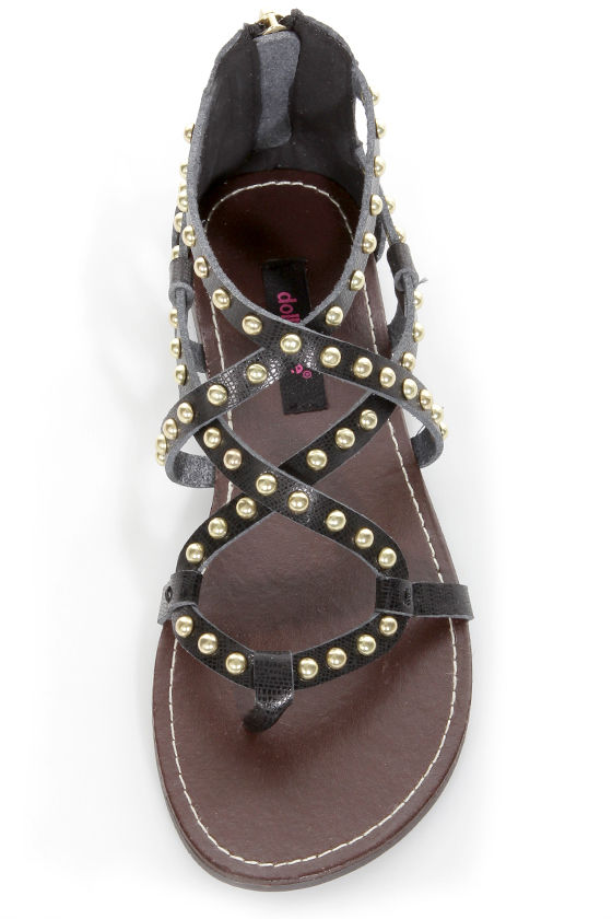 Dollhouse Gladiator Black Studded Strappy Flat Sandals at Lulus.com!