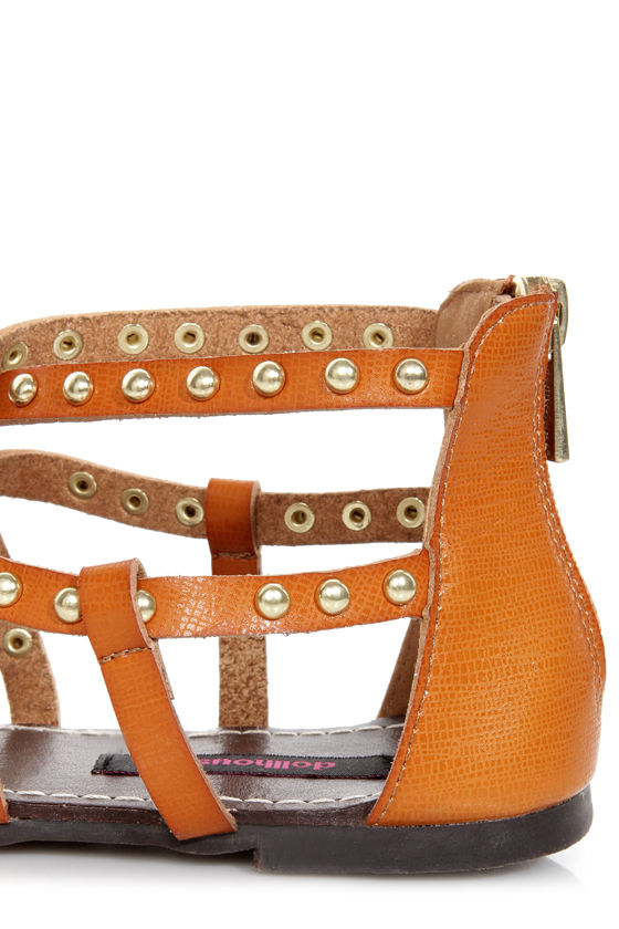 Dollhouse Gladiator Chesnut Studded Strappy Flat Sandals