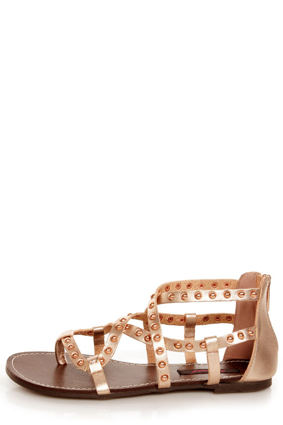 Dollhouse Gladiator Rose Gold Studded Strappy Flat Sandals at Lulus.com!