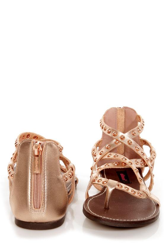 9640fe4dbb92 Dollhouse Gladiator Rose Gold Studded Strappy Flat Sandals -  36.00