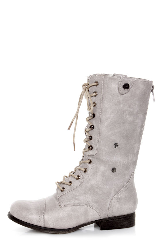 Bamboo Surprise 01 Stone Grey Lace-Up Convertible Combat Boots ...