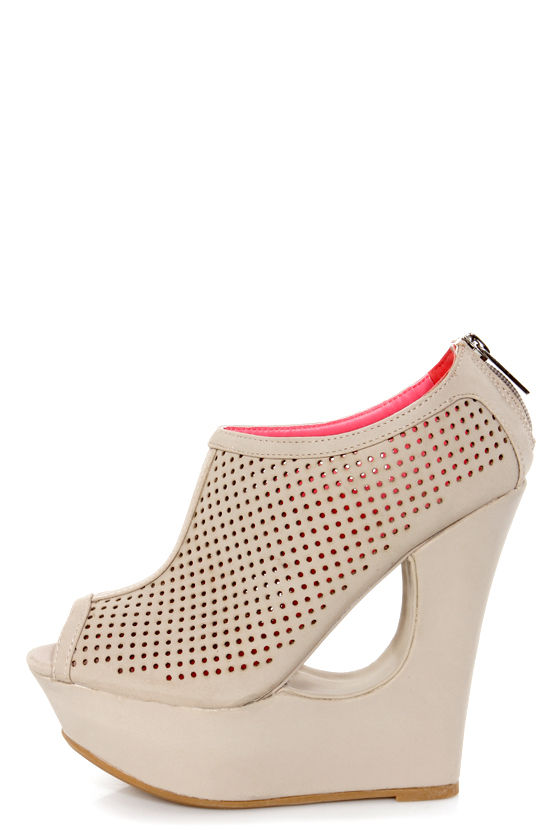 Bamboo Reveal 01 Stone Beige Perforated Peep Toe Shootie Wedges at Lulus.com!