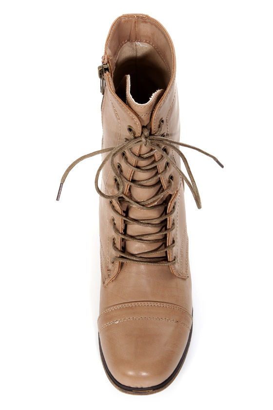 Madden Girl Gamer Natural Paris Taupe Lace-Up Combat Boots at Lulus.com!