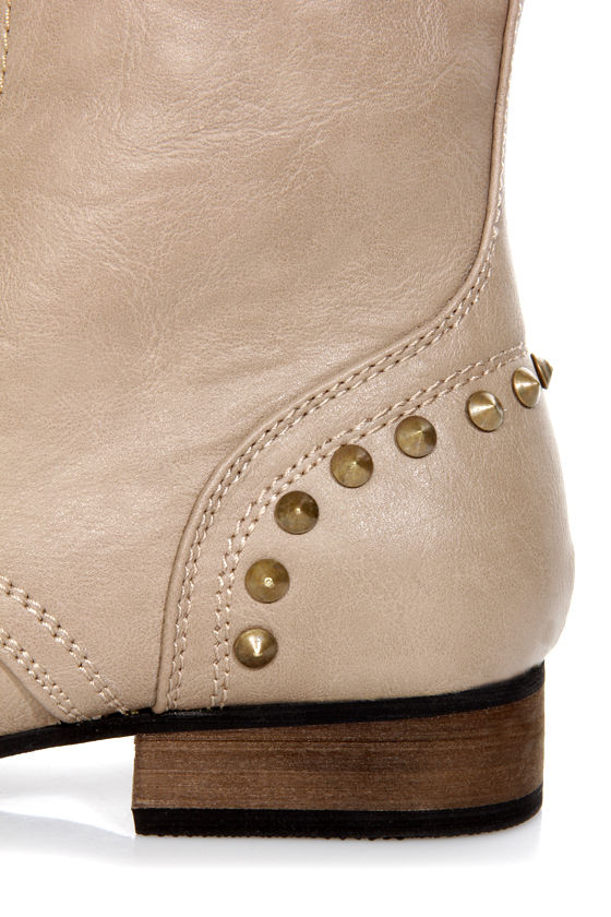 Libby 02 Taupe Studded Lace-Up Combat Boots at Lulus.com!