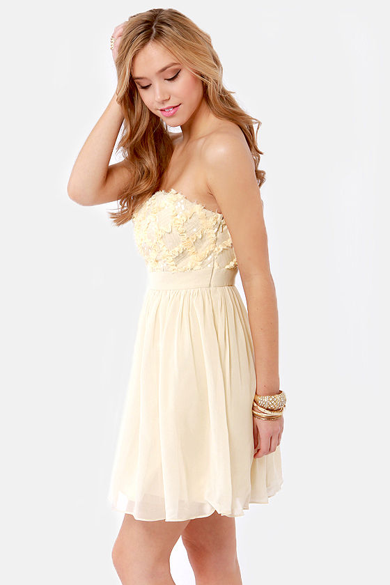 Reason to Celebrate Beige Sequin Dress at Lulus.com!