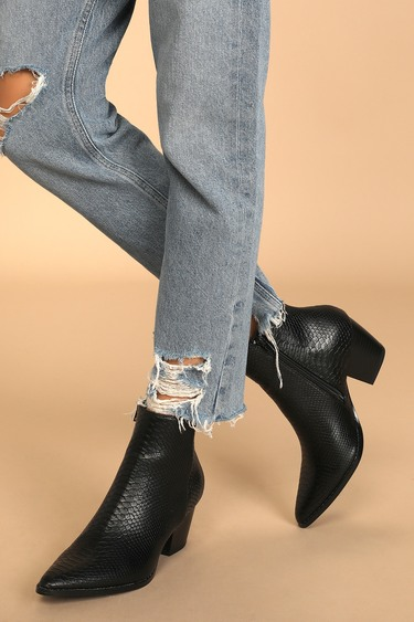 Lulus x Matisse Spirit Black Snake Pointed Toe Ankle Booties