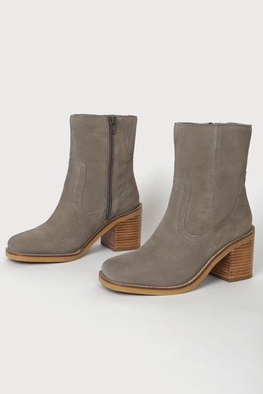 Seychelles Turbulent Taupe Suede Leather Square Toe Mid-Calf Boots