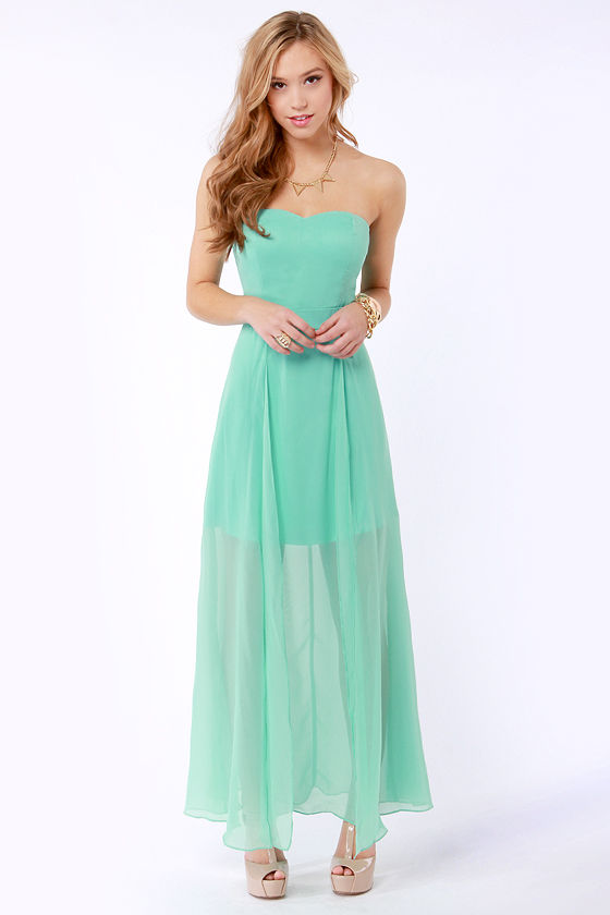 Gorgeous Strapless Dress - Mint Green Dress - Maxi Dress - $52.00