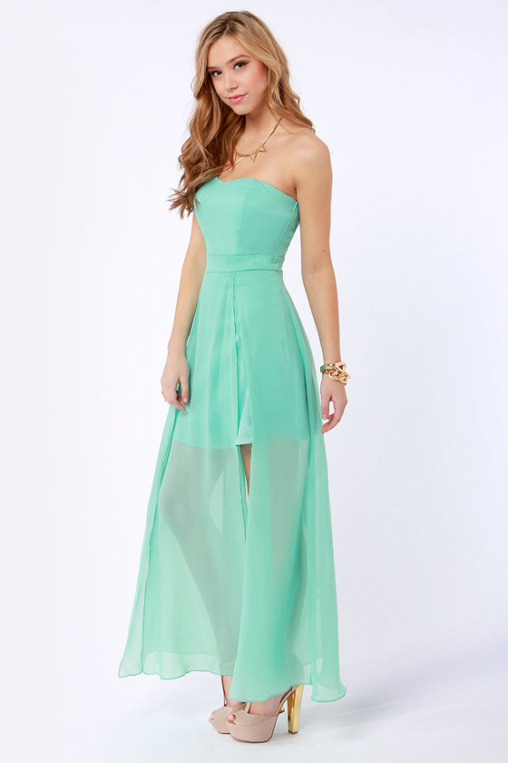 Hit List Strapless Mint Green Maxi Dress at Lulus.com!