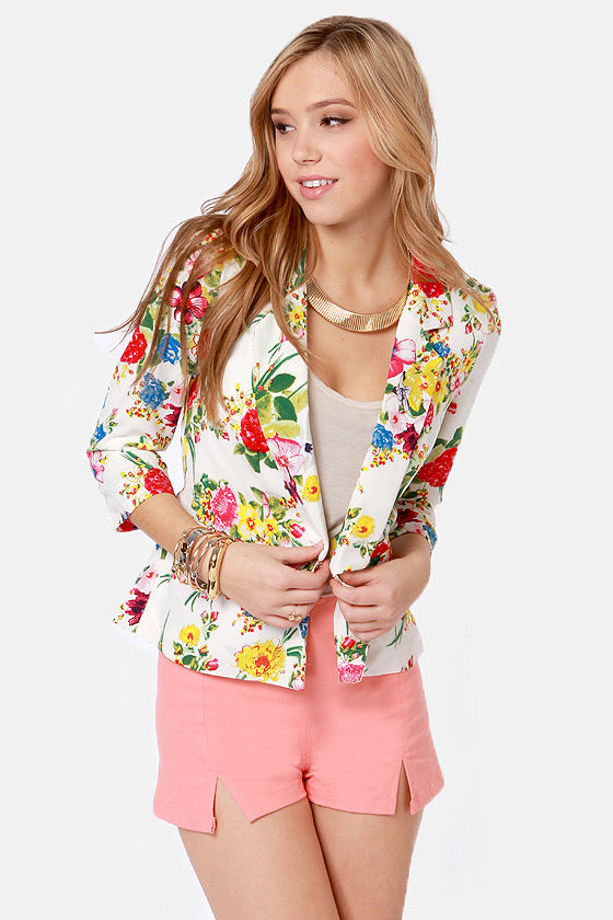 Pretty Floral Blazer - Floral Jacket - Print Blazer - $44.00