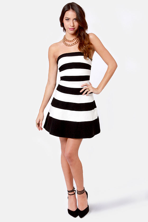 Pretty Black And White Dress Striped Dress Strapless