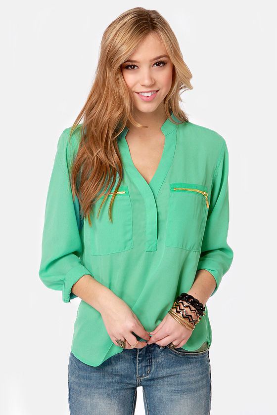 Skinny Zipping Mint Green Top at Lulus.com!