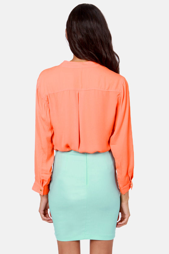 Skinny Zipping Coral Top at Lulus.com!