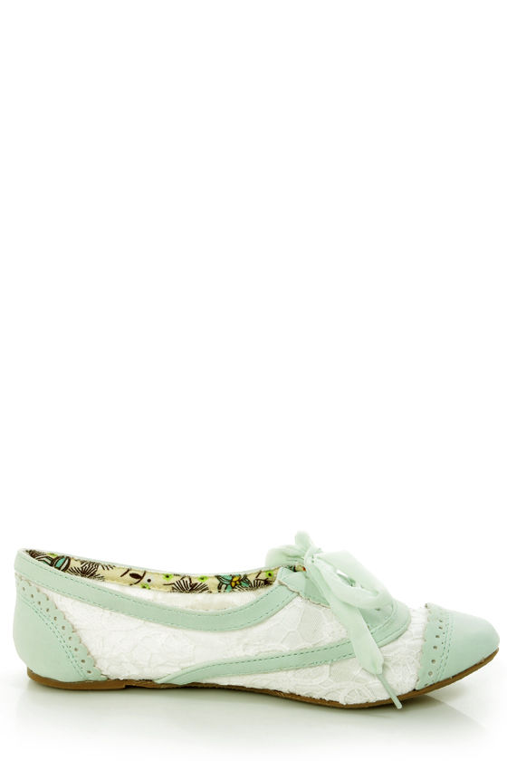Not Rated Borderline Mint and White Crocheted Spectator Oxfords at Lulus.com!