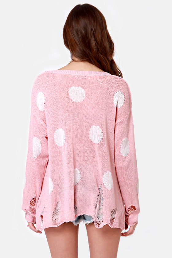 Loved to Shreds Pink Polka Dot Sweater at Lulus.com!