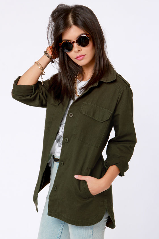 Cargo Load Army Green Military Jacket at Lulus.com!