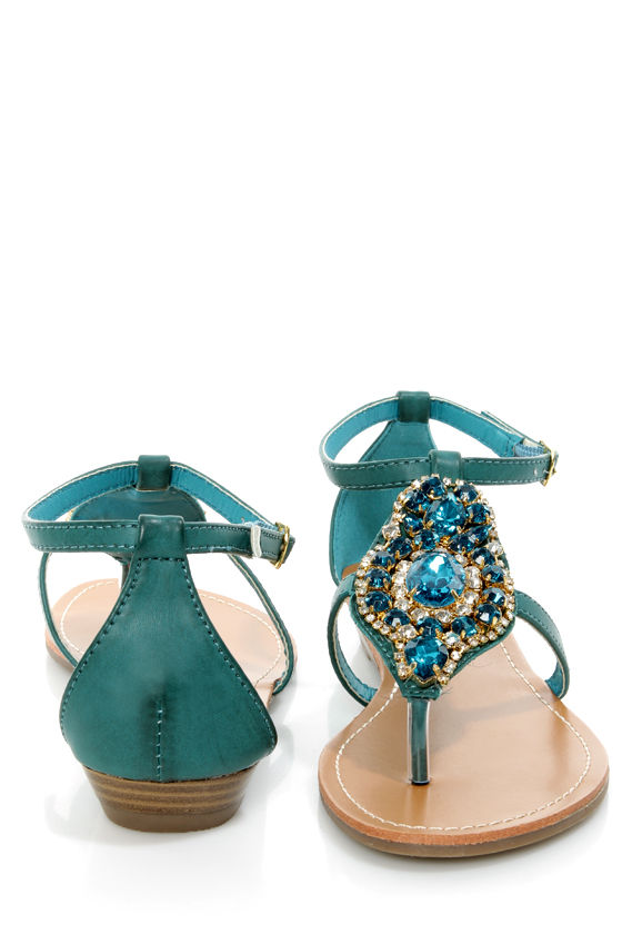 be78e0d76a8c7 Bamboo Wonderful 10 Teal Rhinestone Embellished Thong Sandals -  32.00