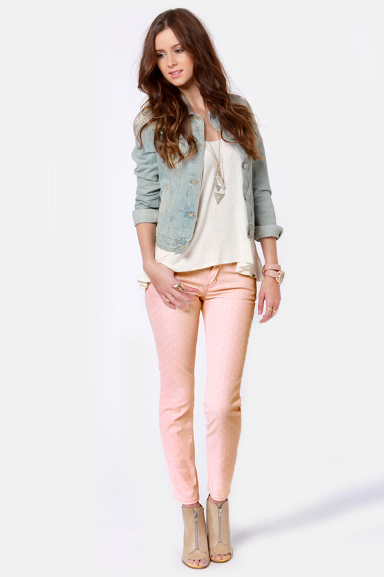 Quiksilver Tama Crop Jeans Peach Polka Dot Jeans